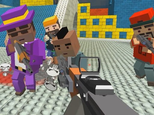 Play GunGame shooting warfare: blocky gangster Online